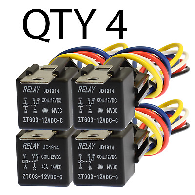 4 Pair 30/40 Amp 12V Bosch Style Relay & Harness Socket Spdt +  Copper Wires
