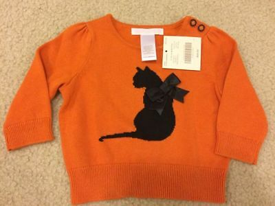 NWT Janie and Jack Frightfully Sweet cat sweater 3-6 months