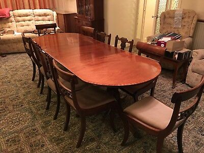 20th Century Extending Dining Table in the Regency Taste and 10 chairs, Mahogany