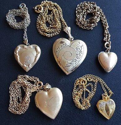 ALL GOLD FILLED (27.6g) 5Pc Vintage Heart Locket Necklace Lot Etched Flower WW41