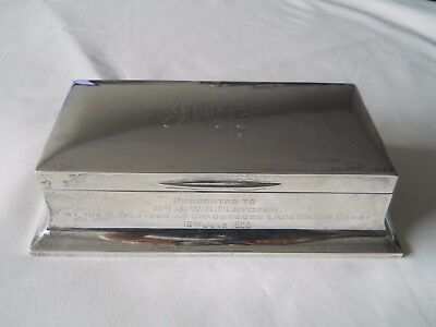 Sterling Silver Presentation 1928 Cigarette Box Sheffield 7.75""