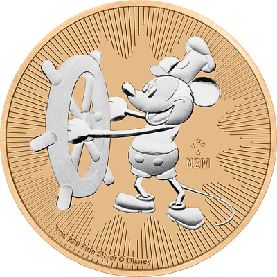 2017 Nieu 2$ Steamboat Willie Mickey Mouse 1 Oz 999 Rose Gold Coin