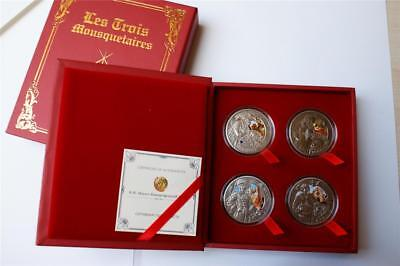 Belarus 2009 20 Rubles Three Musketeers 4x 28.28g Antique Finish Silver Coin Set
