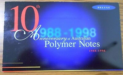 """1988 - 1998 10th Anniversary Polymer Banknotes Deluxe 2 Note Folder """" Black No """""""