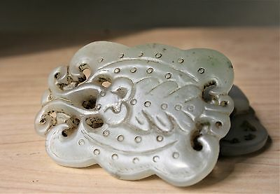 Antique Chinese Carved Jade Jadeite Belt Buckle