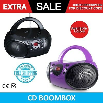 CD Boombox Radio Portable AM FM Player Stereo Electronic Music Tracks Home Room