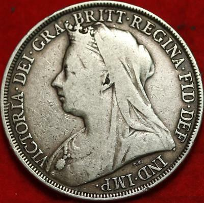 1896 Great Britain Crown Silver Foreign Coin Free S/H