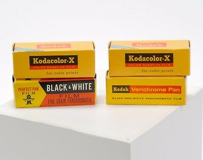 Vintage Lot of 4 Expired Unopened Rolls of 620 Camera Film - 2 Color, 2 B/W