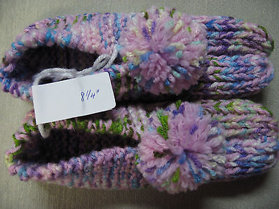 Handmade Knit Slippers Lilac & Pastels Washable & Dry Womans Sm Mans X Sm 8 1/4""
