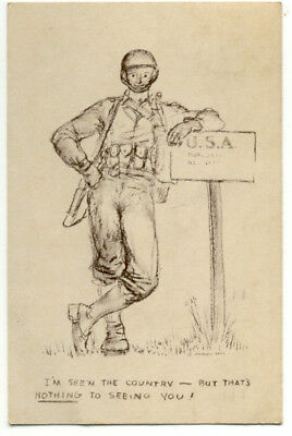 WWII Military Soldier Postcard