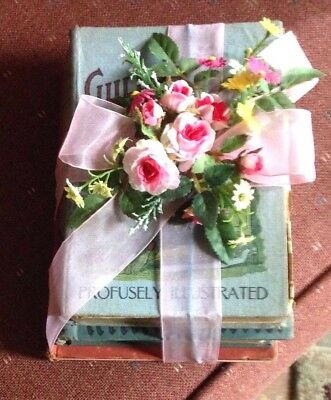 Victorian Decor Set of Three Vintage Books Enhanced with fFowers and Ribbon