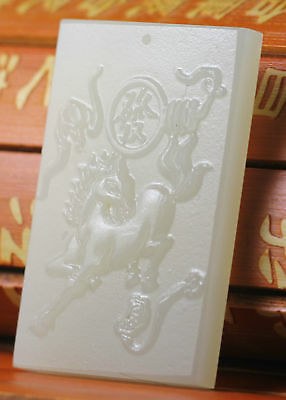 Beautiful Chinese natural white jade hand-carved horse lucky pendant
