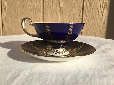 Aynsley Cup And Saucer Cobalt Blue & Gold Fine English Bone China #2878