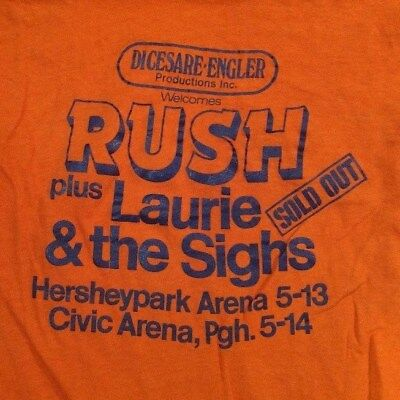 VTG Rush plus Laurie & the Sighs Promoter Tshirt  Digesare. Engler '80 Pgh. M.