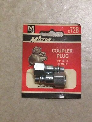Milton S-728 M-Style Coupler Plugs.  1/4 Female NPT.  Industrial Interchange.