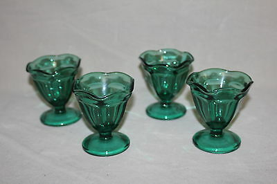 Set Of 4 Anchor Hocking Dark Green Soda Fountain Sundae / Sherbet Glasses
