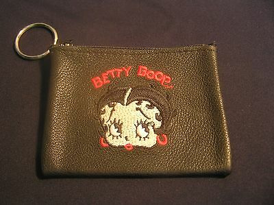 """Betty Boop Black Leather Embroidered Pouch Wallet Coin Purse 4 1/2"""" x 3 1/2"""""""
