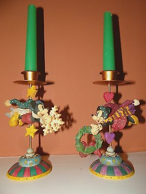 Christmas candle sticks Disney Minnie & Mickey Mouse