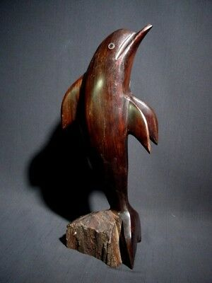 Vintage Ironwood Dolphin Carving Sculpture Jumping Out of the Water