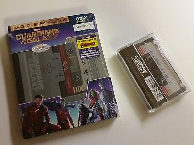 Guardians of the Galaxy Steelbook 3D Blu-ray & Awesome Mix Vol 1 Cassette NEW