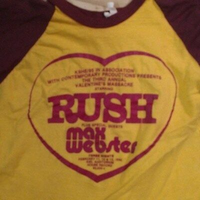 RARE VTG RUSH and Max Webster Valentine's Massacre Promoter Shirt Raglan  1980