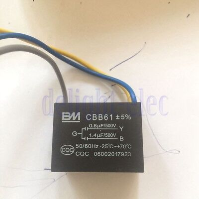 CBB61 Ceilling Fan Power Connecting CAPACITOR 70℃ 1.4uf+0.8uf/500V AC 3 WIRE DE