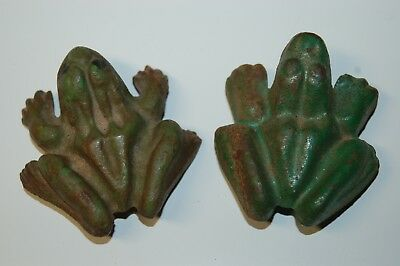 """Vintage Pair of Cast Iron Anatomically Correct Male and Female 2 1/2"""" Frogs"""