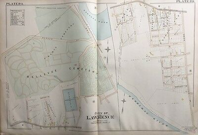 1896 Lawrence, Massachusetts Immaculate Conception & Bellevue Cemetery Atlas Map