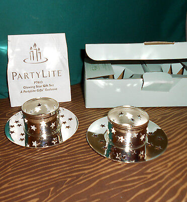 Partylite Glowing Star Gift Set 2 Silverplated Tea Light Candle Holders P7613