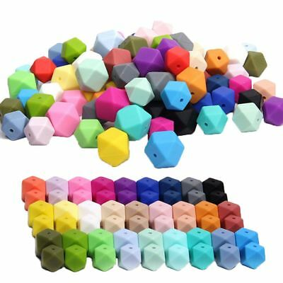 10PCs Practical Chew Beads Food Grade Silicone Baby Teether Mom DIY Necklace