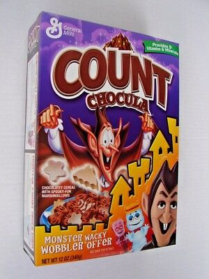 General Mills 2003 Count Chocula Cereal w/Wacky Wobbler Offer 12oz FULL BOX