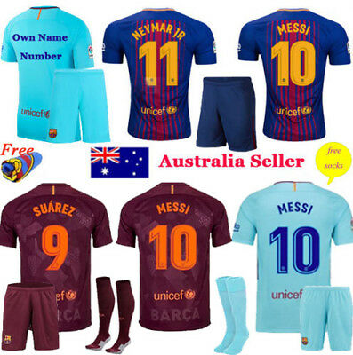 New 2017-18 Football Kits Kids Boy Youth Team Suit Jersey Short Sleeve +Socks