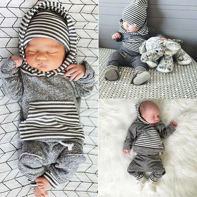 UK Newborn Baby Boys T-shirt Tops+Pants Leggings Outfit Toddler Clothes Sets