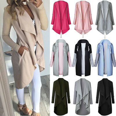 Women Long Sleeve Waterfall Loose Cardigan Jumper Top Hoodie Outwear Coat Jacket