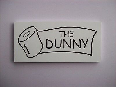 Door Toilet Sign Rustic Engraved Wood ' The Dunny '