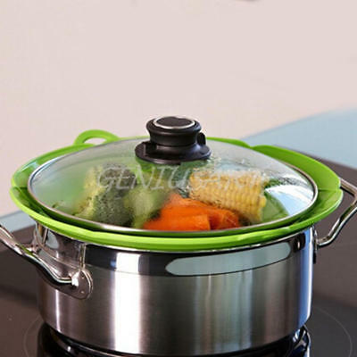 Spill stopper silicone lid cover Pots Pans stops Boil Overflow Splatter