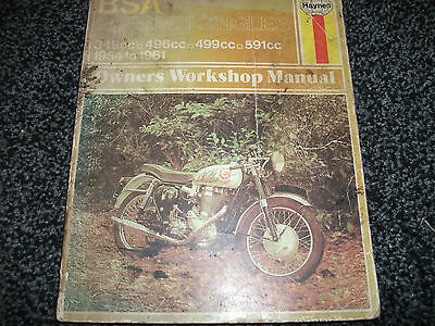 Haynes Bsa Pre Unit Singles Motorcycle Manual 1954 - 1961