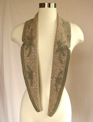 vintage coat collar - 1950s beaded made with Swarovski beads and soutache trim