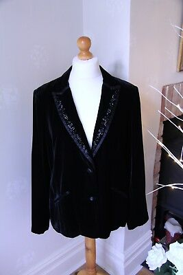 Beautiful Black Laura Ashley velvet jacket with satin and beaded detail