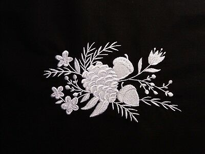 Embroidered Block /Cushion Panel `Pinecone Bouquet` 100% cotton fabric