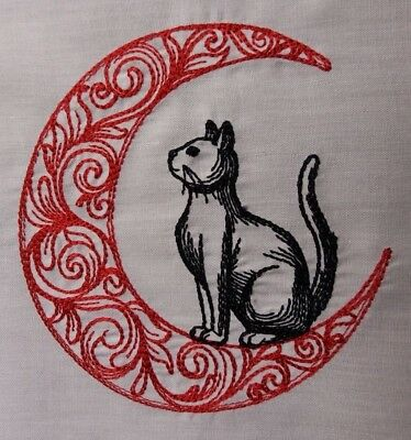 Embroidered Block /Cushion Panel `Cat in Moon` 100% cotton fabric