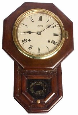 Vintage Old Beautiful Wooden Art Decor Smiths Enfield Wall Clock HB 089