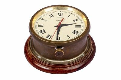 Vintage Solid Hard Brass Old Walnut Cased Wall Clock By Smiths Enfield HB 056