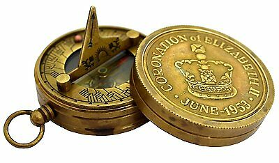 Vintage Hand Crafted Antique Brass Collecitble Pocket Sundial Compass SC 010