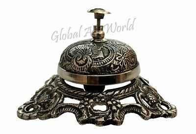 Antiques World Sterling Silver Engraved Carving Flower Design Table Bell BB 012