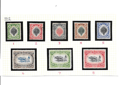 MALAYSIA - KEDAH 1912 Low Value Definitives to 30 cents - SG 1/8 - m/m & used