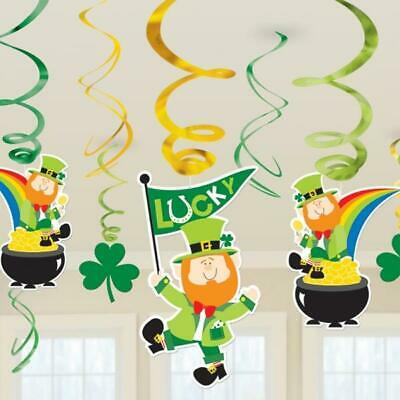 St Patricks Day Hanging Swirl Decoration Value Pack - 12 Pieces