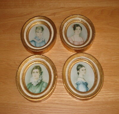 Vintage ~ Set Of 4 Oval Pictures ~ Made In Florence, Italy
