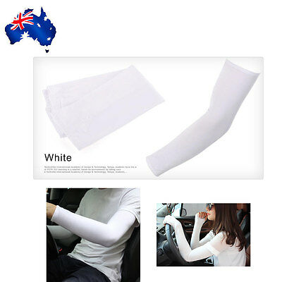 Cooling Warmer Sport Outdoor Arm Stretch Sleeves Sun Block UV Protection White