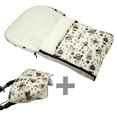BAMBINIWELT MUFF+WINTERFUSSSACK (108cm) Jogger Buggy Wolle EULE $13